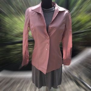 Dana Buchman pink Silk Button shirt /blazer